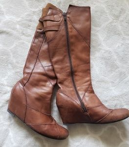 Tall Brown Leather Boots with Hidden Wedge